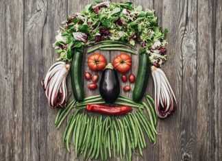 fruits and vegetables assorted to look like bearded man