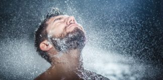 facial hair with shampoo getting washed