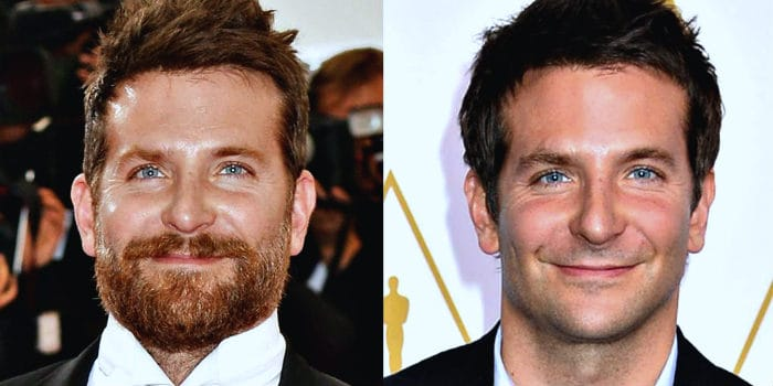 bradley cooper with and without a beard