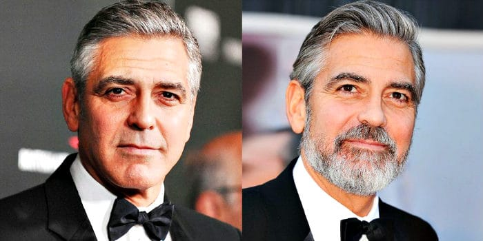 Comparision with George Clooney shaven and bearded