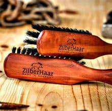 zilberhaar beard brushes laying on table