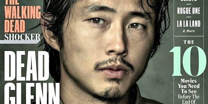 Steven Yeun in magazine cover with thin facial hair