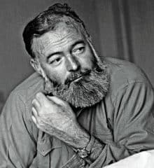 Ernest Hemingway stroking his thick full beard