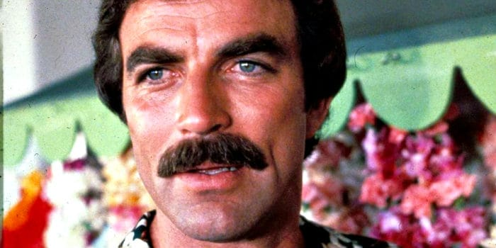 Tom Selleck with his classic thick mustache in Magnum PI