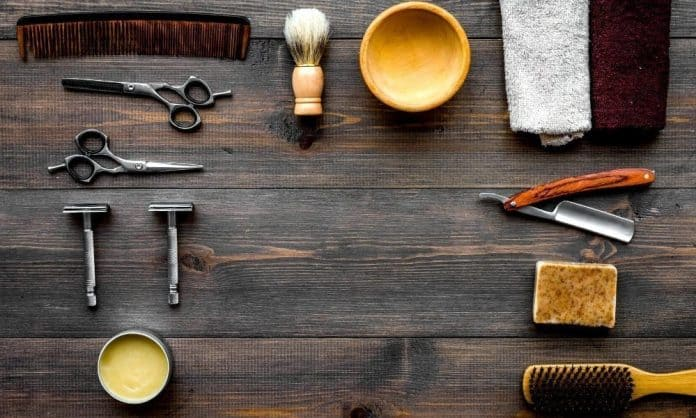 beard grooming products on a table