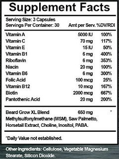 beard grow xl supplement facts