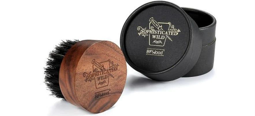 bfwood round travel size facial hair bristle brush