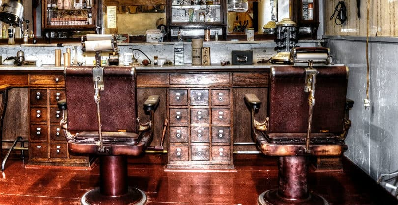 insides of old school barber shop
