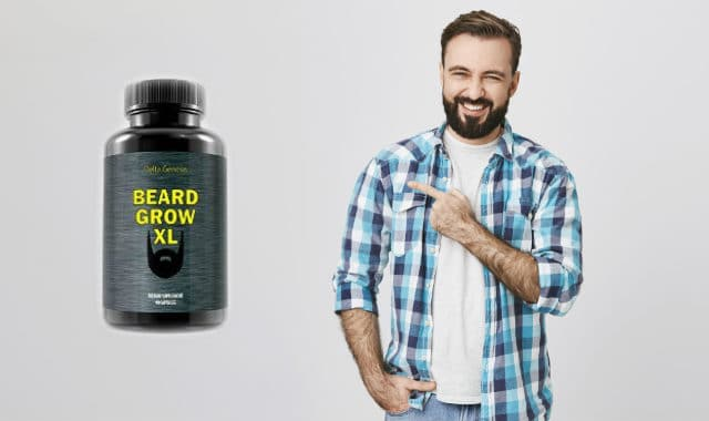 man pointing at beard grow xl bottle