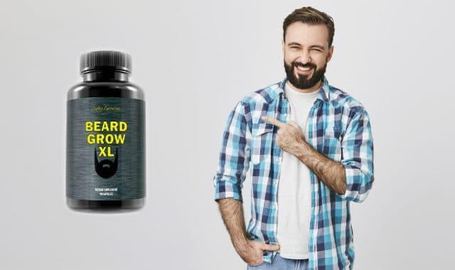 man pointing at beard grow xl bottle