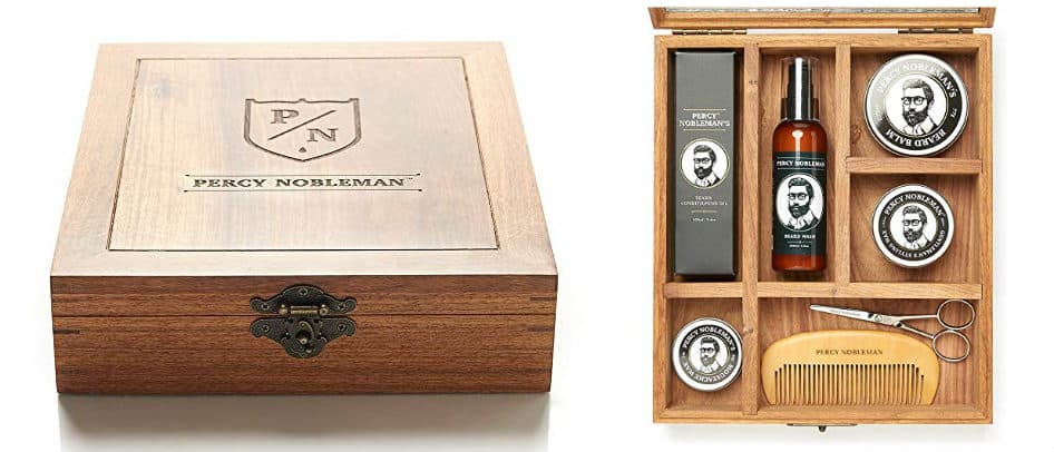 Luxurious Percy Nobleman beard grooming box closed and open in white background