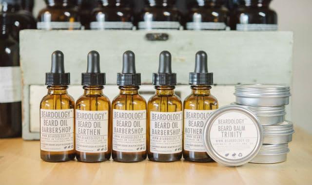 beardology beard oils in a table