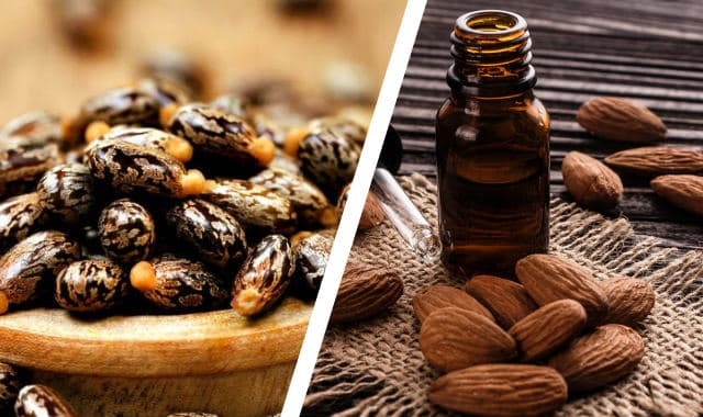 castor oil and almonds next to a beard oil dropper bottle