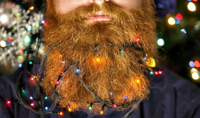 beard lights attached to a bushy ginger facial hair