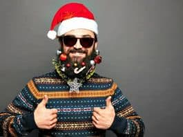 man with beard baubles on his facial hair