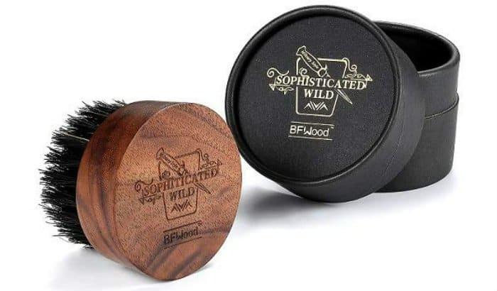 BFWood round travel beard brush