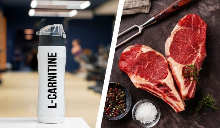 carnitine supplement bottle on the left and steak on the right