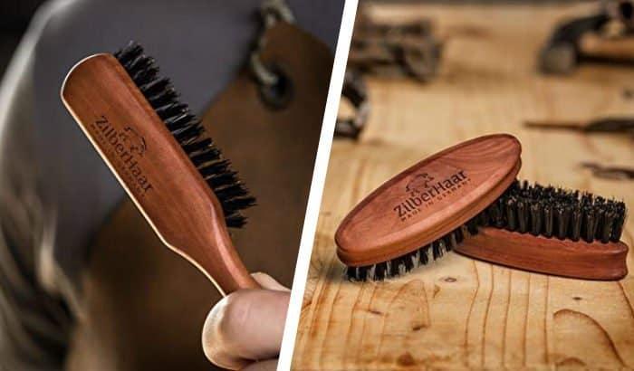 zilberhaar beard brush long handle and pocket version