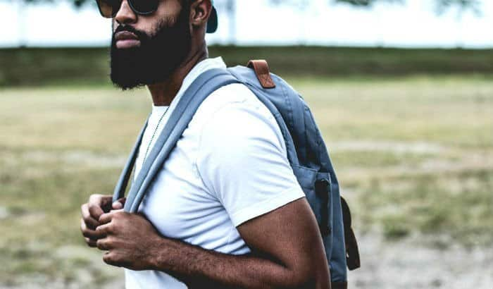 african american male with perfectly shaped beard