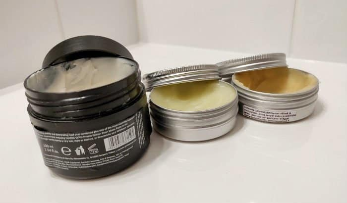 beard balms on a counter