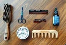 beard oil combs brush balm and scissors