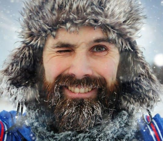bearded man in cold winter