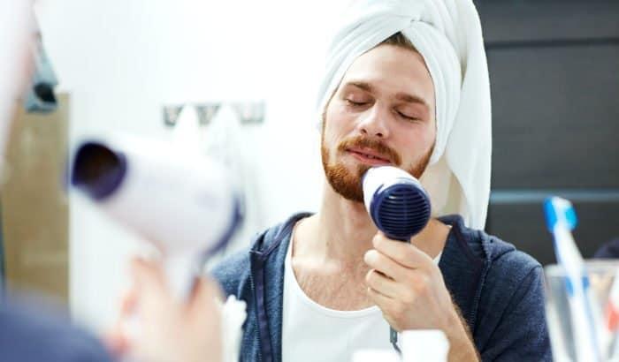 blow dry facial hair