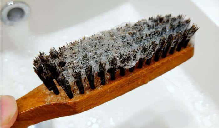 cleaning a beard brush step 3