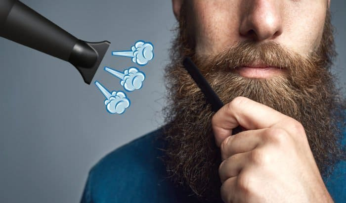 blow drying a beard